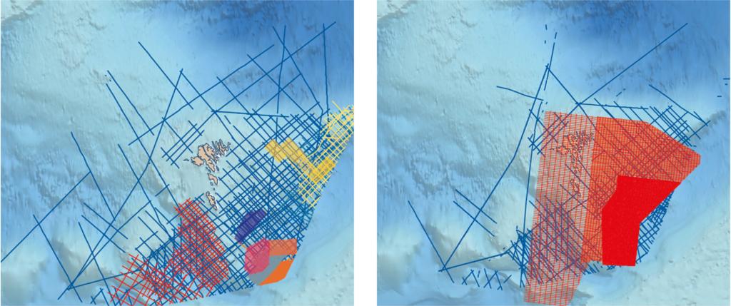 Figure 1: Gravity data coverage for the Faroe Islands. Figure 2: Magnetic data coverage for the Faroe Islands.