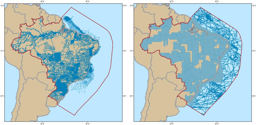 Figure 1: Brazil gravity station coverage. Figure 2: Brazil magnetic survey coverage.